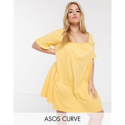 エイソス ドレス 大きいサイズ レディース ASOS DESIGN Curve square neck frill sleeve smock dress in buttermilk エイソス ASOS