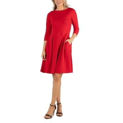 24セブンコンフォート ワンピース トップス レディース Women's Knee Length Fit and Flare Dress with Pockets Red