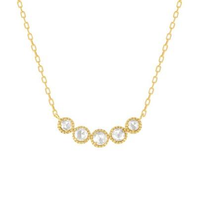 ダイヤモンド ネックレス K18イエローゴールド 4月誕生石 0.15カラット ローズカット アズキチェーン 5石  プレゼント 天然石 京セラ