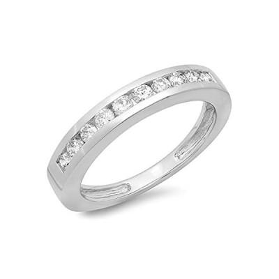 IGI認定0.50カラットCTW14Kホワイトゴールドラウンドダイヤモンドスタッカブル結婚記念バンド1/ 2ct