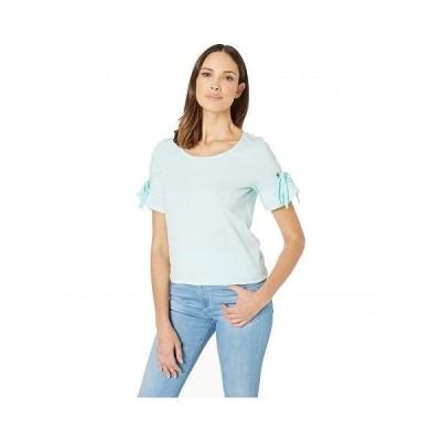 Tribal トリバル レディース 女性用 ファッション Tシャツ Mini Stripe Short Sleeve Top with Ruffle and Ribbon - Aqua Haze