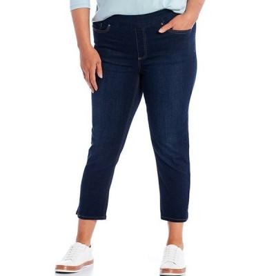 ウエストバウンド レディース カジュアルパンツ ボトムス Plus Size the HIGH RISE fit Denim Cropped Pants