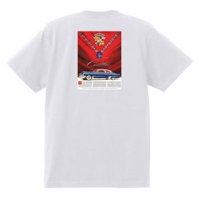 アドバタイジング キャデラックTシャツ 1949 白 093 オールディーズ ロックンロール 1950's1960's ロカビリー ローライダー