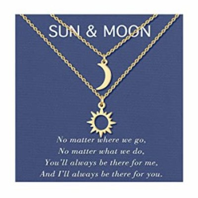 UNGENT THEM Sun and Moon Necklaces Gold for 2 Matching Best Friend Friendship Pedant Necklace Jewelry Gift for Women Girls Coupl