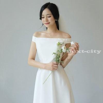 ウェディングドレス 白 エンパイア シンプル ウェディングドレス 花嫁 ドレス 披露宴 結婚式 二次会 ワンピース 安い