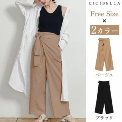 ワイドパンツ 大きいサイズ パンツ ラップパンツ ボトムス キュロット スカート風 キュロットスカート パンツ ラップパンツ ラップパンツ