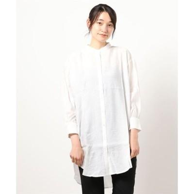 シャツ ブラウス シアー素材ロングシャツ