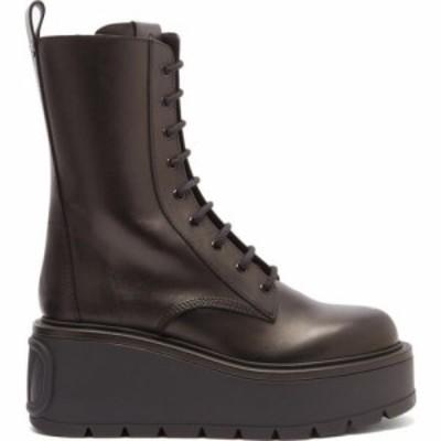 ヴァレンティノ Valentino Garavani レディース ブーツ シューズ・靴 Uniqueform exaggerated-sole leather boots Black