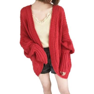 Smile LaLa レッド 赤 レディース カーディガン セーター 厚手 女性 大きめサイズ 防寒 カジュアル オフィス アウトドア タイト 女子