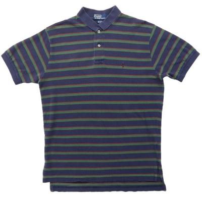 【25%off】古着 ラルフローレン Polo Ralph Lauren ポロシャツ ワンポイント ボーダー ネイビー グリーン バーガンディー サイズ表記:M