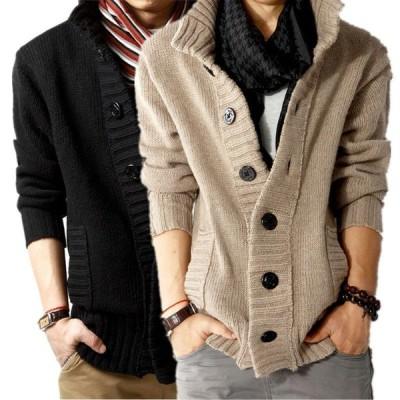 新品 カーディガン メンズ ニット セーター ジャケット 長袖 ドンキー襟 アウター コートニット 大きいサイズあり 4色展開