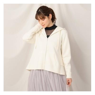 【クチュール ブローチ/Couture brooch】 ◆【とろけるような着心地/洗える】メルティタッチバックフリルジップアップフーディ