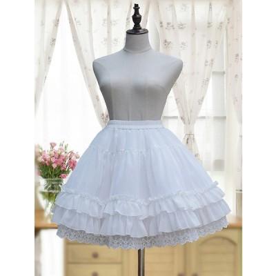 パニエ スカート ロリータ ドレス Aライン 衣装 コスチューム ホワイト 重ね フリル
