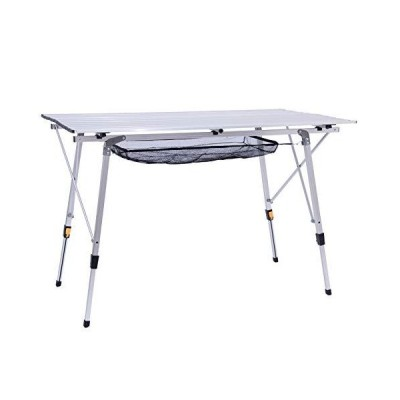 Genric Alpen アウトドアアルミ折りたたみキャンプテーブル 高さ調節可能 アウトドアピクニック用 キャリ