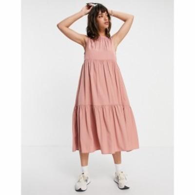 ヴィラ Vila レディース ワンピース Aライン ワンピース・ドレス tiered midi dress in pink ピンク