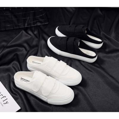 サンダル レディース ヒール 履きやすい 婦人靴 かかとなし スニーカー サボ 白 サンダルスニーカー送料無料