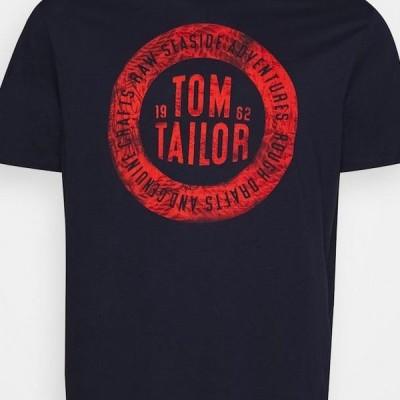 トム テイラー メンズ ファッション BASIC WITH PRINT - Print T-shirt - dark blue