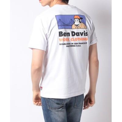 【Amerikaya】  ベンデイビス ブリッジ&ゴリラ バックプリント半袖Tシャツ メンズ ホワイト XL Amerikaya