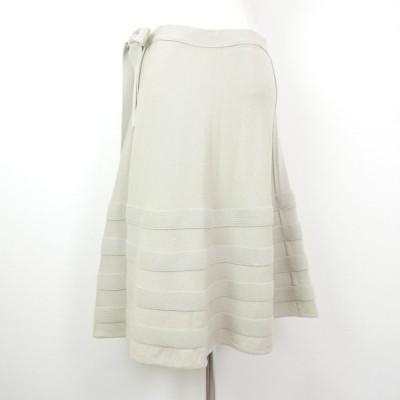 BALENCIAGA バレンシアガ ニコラ・ジェスキエール期 リボン ベルト ウール ニット スカート BEIGE 38