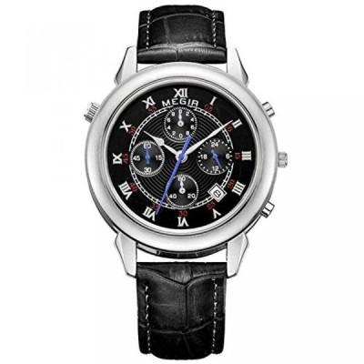 ファンミス 腕時計 メンズウォッチ Fanmis Men's Quartz Chronograph Leather Black Band Silver Case Watch