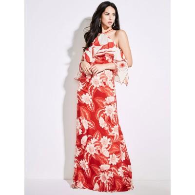 ゲス GUESS MARCIANO Ruffle Long Dress (PI51)