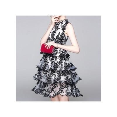 パーティードレス  総柄 華やか ノースリーブ 透け感レース シンプル セクシー 大人 レディース ワンピース 結婚式 二次会 お呼ばれドレス kh-0172