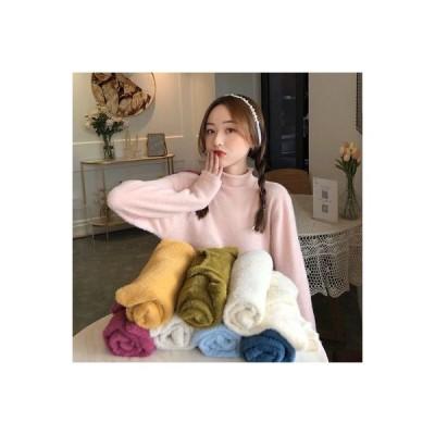 【送料無料】秋冬 ルース セミハイ襟 長袖セーター 単一色 プルオーバー 女 韓国風 | 346770_A63805-0967918