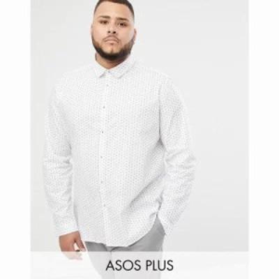 エイソス シャツ Plus smart slim disty shirt White