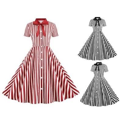 レトロワンピース Aラインレディース復古なフランス風ドレス ストライプ柄 大きい裾 普段着 リボン ダンスウェア Aラインワンピース チュニック 文化祭 イベントパーティー