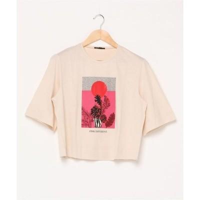 tシャツ Tシャツ 型押しショート丈オーバーサイズ半袖Tシャツ・カットソー