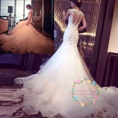 マーメイドラインドレス 白 二次会 安い 花嫁 長袖 秋冬 ウエディングドレス 結婚式 ロングドレス 大きいサイズ 小きいサイズ マーメイド wedding dress