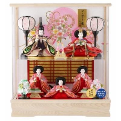雛人形 ケース入り コンパクト ひな人形 ケース飾り 五人飾り 二階建て飾り 藤翁作 みゆき 日本産木製枠 アクリルケース オルゴール付 h3