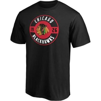 ファナティクス Fanatics メンズ Tシャツ トップス NHL Chicago Blackhawks Black Circle T-Shirt