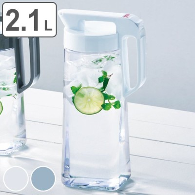 冷水筒 2.1L 麦茶ポット ピッチャー お茶ポット ドリンクビオ 横置き 耐熱 ワンプッシュ プラスチック 水差し 洗いやすい ( 麦茶 ポット 熱湯 ドアポケット )