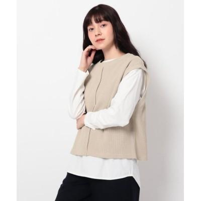 【ザ ショップ ティーケー】 リブベスト×TシャツSET レディース ライト ベージュ 12(M) THE SHOP TK