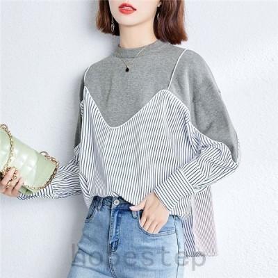 レディースブラウスブラウス女性ストライプ柄シャツ長袖重ね着風人気オシャレきれいめファッション40代30代春秋女性