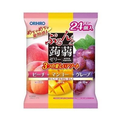 送料無料 オリヒロ ぷるんと蒟蒻ゼリー ピーチ+マンゴー+グレープ 480g(20gパウチ×24個)×12袋入