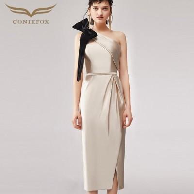 【CONIEFOX】高品質★ワンショルダーリボンノースリーブスリットタイトライン膝丈ドレス♪ベージュ 生成 ワンピース