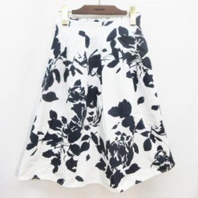 【中古】ルーミィーズ Roomy's  フレア スカート 膝丈 タック 花柄 ボタニカル 綿 100% ウエストゴム F(M相当) 白