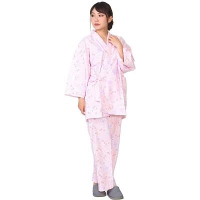 ローケツ染調 ピンク Mサイズ ガーゼ 寝巻き 上着とパンツセット 二部式 婦人用