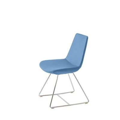 MobiliModern Electra Dining Chrome Wire Chair Sky Blue Organic Wool[並行輸入品]