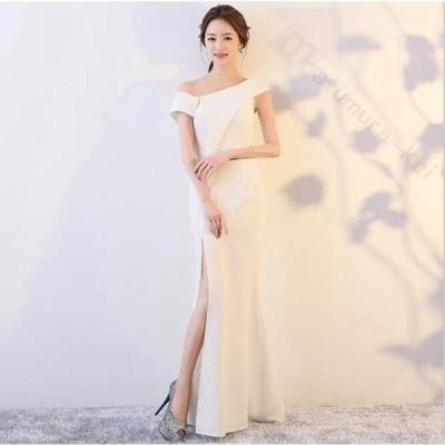ドレス 二次会 結婚式 女性 ホワイト ワンショルダー 刺繍 透け感 Aライン スレンダーライン マーメイドライ ロングドレス 演奏会 パーティー
