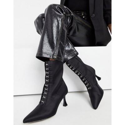 エイソス ASOS DESIGN レディース ブーツ シューズ・靴 Rosalie Pointed Boots In Black Satin ブラックサテン