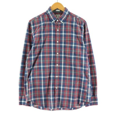 ジェイクルー J.Crew 長袖 ボタンダウンチェックシャツ メンズM /eaa131585
