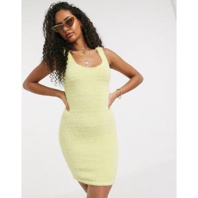 エイソス レディース ワンピース トップス ASOS DESIGN mini fluffy dress in lemon