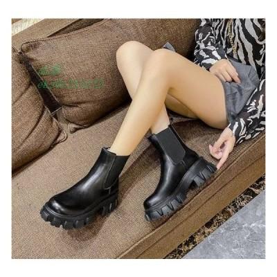 ショートブーツ 厚底ブーツ レディース 厚底 疲れにくい 履きやすい 無地 黒 歩きやすい ローヒール 秋冬 痛くない ショート丈 フェイクレザー 冬 秋 ブラック