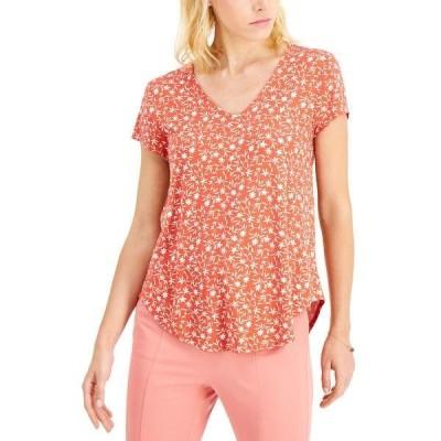 アルファニ Tシャツ トップス レディース Printed V-Neck T-Shirt, Created for Macy's Green Swift Palm
