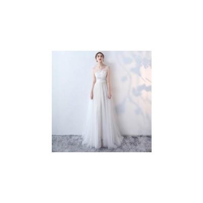 パーティードレス ロングドレス 演奏会 結婚式ドレス ホワイト 花嫁 サッシュリボン 刺繍  二次会 お呼ばれ ピアノ 発表会 ウェディングドレス フォーマルドレス