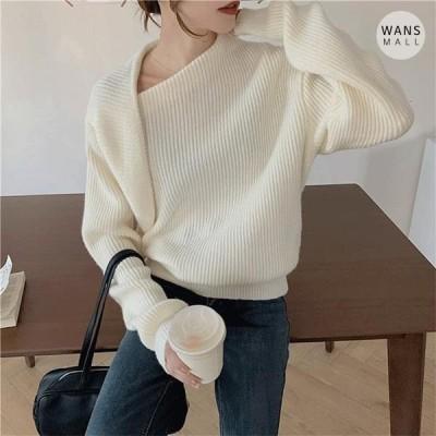 Wansmall レディース ニット/セーター kn3575 Shimmer Shoulder Point Unique Knitwear