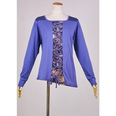 カットソー 和風 和柄服 gouk 両肩に小紋柄を切り替えた編み上げのトップス